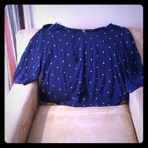 Navy cotton blouse by Aerie